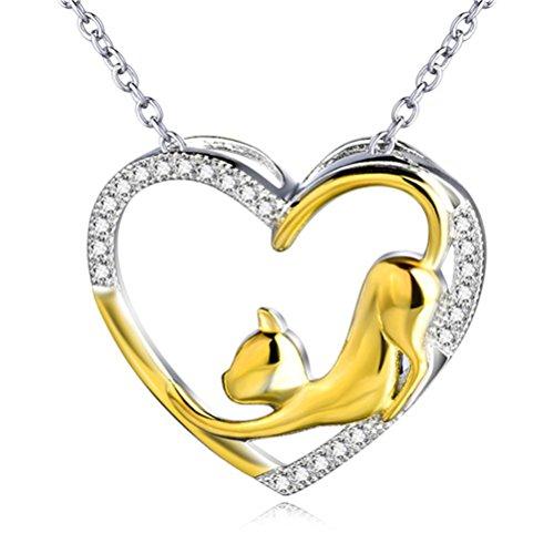 Silver Mountain 925 Sterling argento bicolore gatto cuore collana con pendente a cuore