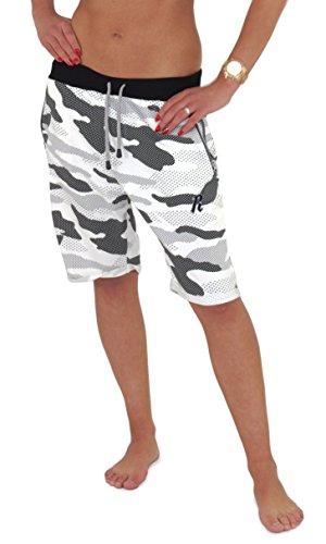 REDRUM | Damen | Bermuda Shorts | kurze Hose | Jogginghose | Sweatshorts | Militär | Camouflage | Freizeitmode für den Partnerlook | Größe XS - 3XL | 6 Trendige Farben Camo Weiss