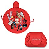 Lazy Drawstring Make up Bag Portable Large Travel Cosmetic Bag Pouch Travel Makeup Pouch Storage Organiser For Women Girl (Red)
