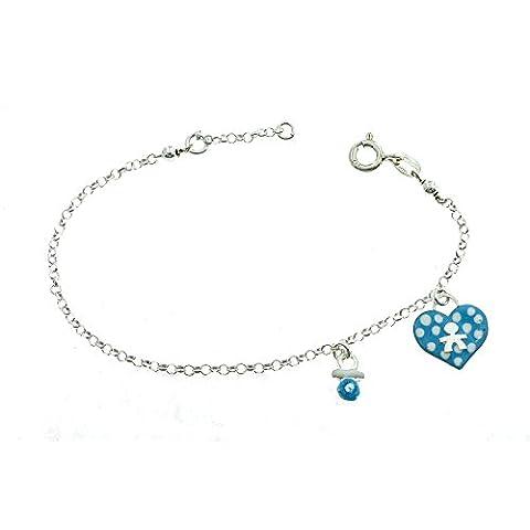 Bracelet jaseron avec coeur et Sucette émail en argent sterling