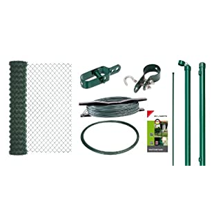 GAH-Alberts 633172 Maschendrahtzaun-Set, zum Einbetonieren, grün, 1000 mm Höhe, 15 m Rolle