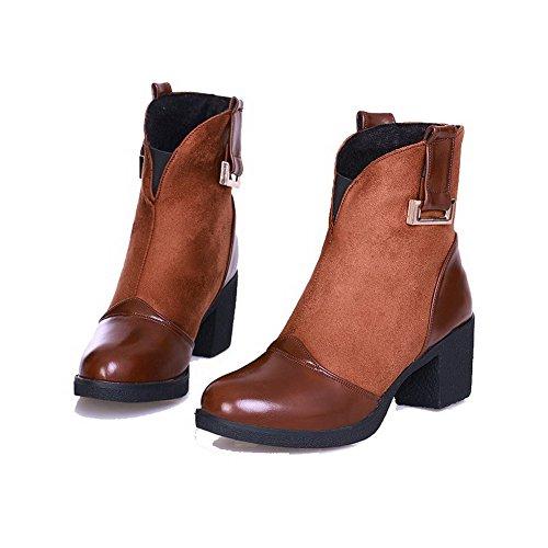 VogueZone009 Damen Blend-Materialien Niedrig-Spitze Rein Ziehen auf Hoher Absatz Stiefel, Braun, 41