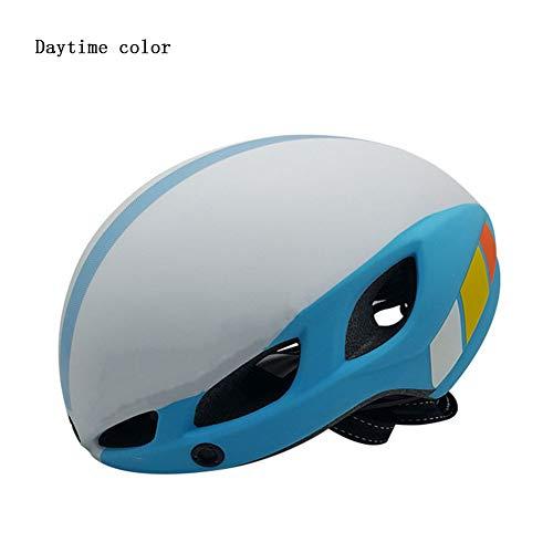 QUILT FAFY Fahrradhelm Leucht Ultralight In-Mold Fahrradhelm Mit Zwei Visierscheibe Breast Road Mountain MTB Outdoor Fahrradhelm,White(Blue)