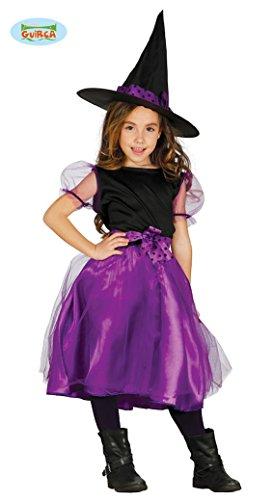 lila Kinder Hexe mit Hut Halloween Kostüm für Mädchen Hexenkostüm Gr. 110-146, (Kostüm Lila Hut)