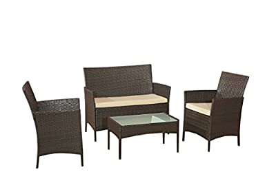 Classic Garden Rattan Furniture Set Sofa, 2 Chairs, Coffee Table