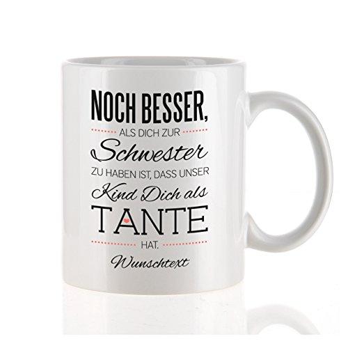 Herz & Heim moderne Kaffeetasse als Kompliment für die beste Tante mit Gratis Druck Ihres...
