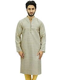 atasi Herren-Stehkragen kurz kurta beige Baumwollbeiläufigen Tunika Shirt
