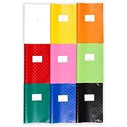 perfect line 25 buste colorate per quaderni in rafia DIN-A4, copertina per quaderno flessibile & pulibile, 9 colori diversi, kit proteggi libro colorato con copertina, custodia di protezione colorata