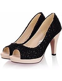 High Heel Schuhe, grob ferse schuhe, Fisch Mund spitzen, Sandalen für Frauen, weiß, 42
