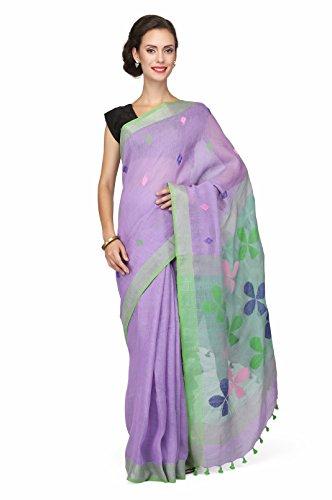The Weave Traveller Handloom Women's Linen Jamdani Sarees With Blouse (TWT_L_MAUVEJAM_144_Mauve)