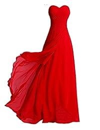 Fashion Plaza Chiffon elegant Falten Schulterfrei Maxikleider Brautjungfern mit Schnürung am Rücken in 8 Farben D072
