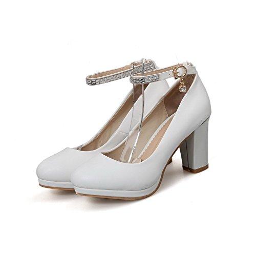 VogueZone009 Femme Matière Souple Boucle Rond à Talon Haut Couleur Unie Chaussures Légeres Blanc