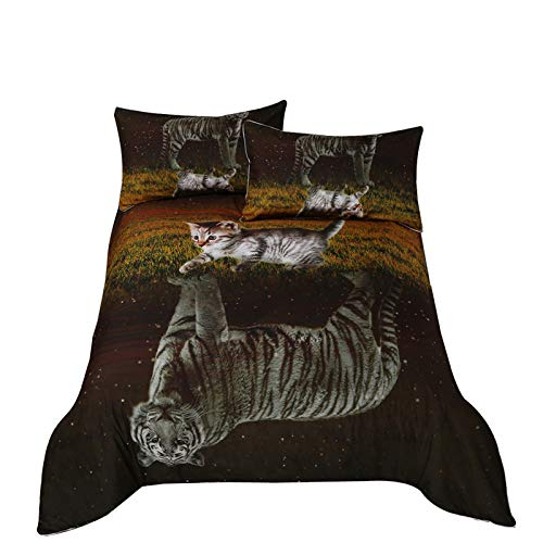 Bettbezug Black Green Printed Cat 3D King Size, Diligencer Luxury Microfiber Bedding/Adult Kids - Floral Black King Tröster
