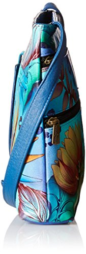 ANUSCHKA dipinto a mano in pelle Luxury – 447 – Compatto Tracolla Organizer da viaggio, Dolphin World (multicolore) - 447-DWD Tropical Dream