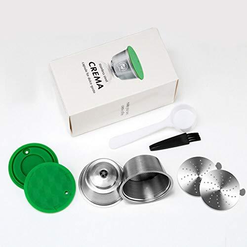i Cafilas 2 Filtros Cápsulas de Café Puede Rellenar reutilizar para Dolce Gusto Cafetera Fuerte al Menos 160 Veces de usos para reemplazo,2 pcs con 1 cucharón de plástico y 1 Cepillo de Limpieza