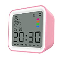 """MoKo Alarm Clock with 3.5"""" LCD Display, Square Design Multifunctional Wake Up Alarm Clock with Snooze, Calendar, Thermometer, Backlight Function and 12/24 Hours Display - White and Pink"""