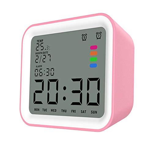 """MoKo LCD Digital Reloj Despertador Cuadrado, Reloj Alarma Inteligente de 3.5\"""" Pantalla LCD con Fecha Temperatura, Sensor de Luz, Función Snooze y de Repetición - Blanco + Rosa"""