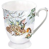 Ambiente Tasse en porcelaine Env. 250 ml pour café ou thé Automne Hiver Treat rouge-gorge