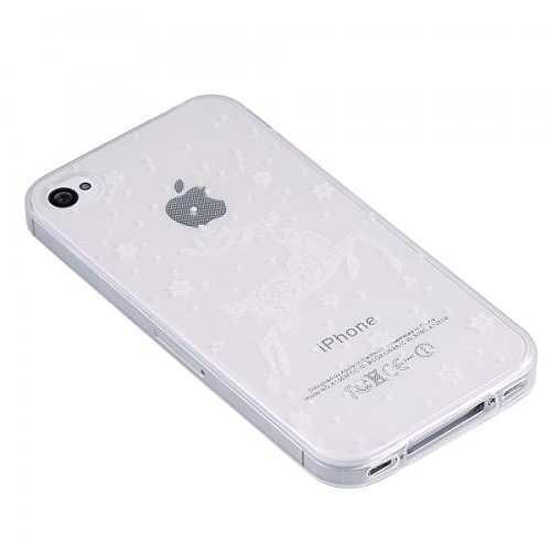 ECENCE Apple iPhone 4 4S Coque de protection housse case cover rétro noir à pois blanc 22040104 Transparent cerf