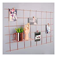 """Simmer Stone Rose Gold Wall Grid Panel for Photo Hanging Display & Wall Decoration Organizer, Multi-Functional Wall Storage Display Grid, 5 Clips & 4 Nails Offered, Set of 1, Size 31.5""""x 20.5"""""""