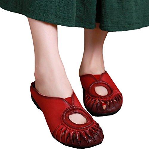 MatchLife Femme Vintage Cuir Flat Creux Pantoufles Style1-Rouge