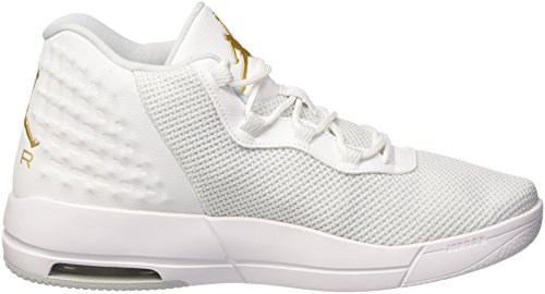 Nike Jordan Academy, espadrilles de basket-ball homme Blanco (White / Mtlc Gold Coin-Pure Platinum)
