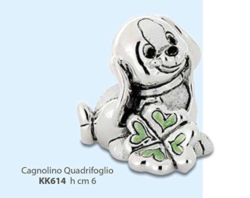 Kikke statuina cagnolino con quadrifoglio smaltato verde portafortuna argentato h cm 6 made in italy rifinito con scatola