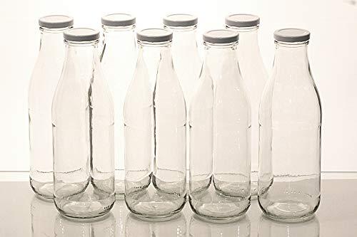 8 Milchflaschen 1 Liter mit Twist-Off-Schraubdeckeln in weiß - Weithalsflaschen mit 1000 ml Volumen - geeignet als Saftflaschen, Smoothieflaschen und Milchflaschen