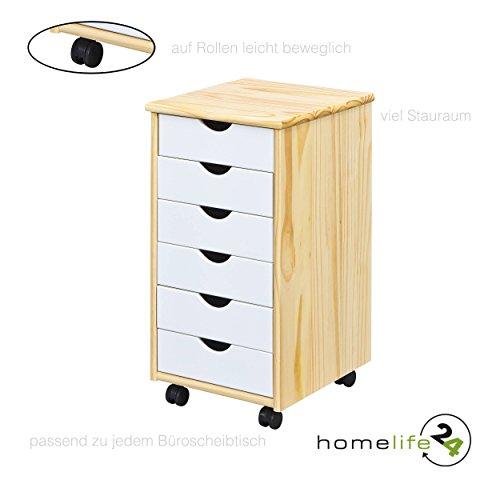 H24living Rollcontainer Bürocontainer Büromöbel Büro Rollwagen mit 6 Schubladen Natur lackiert weiss