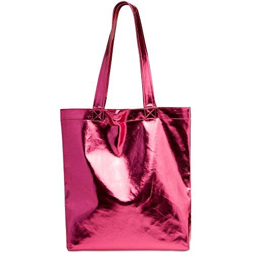 CASPAR TS1047 Damen metallic Shopper / Schultertasche, Farbe:pink;Größe:One Size