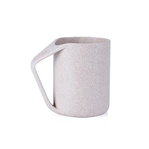 tasse, umweltfreundlich, Weizenstroh, leicht, 400 ml (13,5 Unzen), unzerbrechlicher Becher, biologisch abbaubar, Kunststoff-Becher mit Henkel für Wasser, Kaffee, Milch, Tee, beige ()