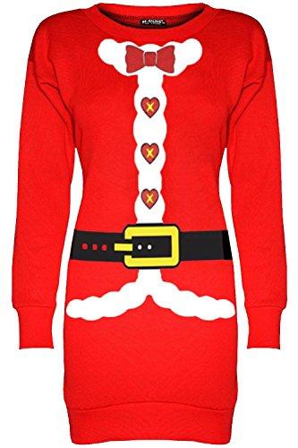 Be Jealous Frauen Weihnachten Vlies Damen Santa Kostüm Weihnachten Sweatshirt Mini Pulli Kleid