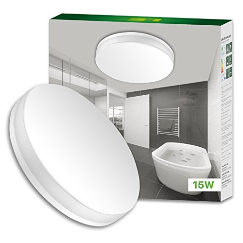 LE 15W LED Ceiling Lights, Waterproof IP54, 22cm, Daylight White 5000K, 1250lm, 100W Incandescent Bulb Replacement, Non-dimmable, Lighting for Bathroom, Kitchen, Hallway, Flush Ceiling Lights
