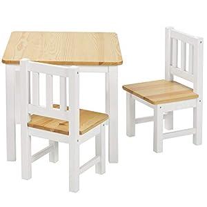 BOMI Stabile Kindersitzgruppe Amy 2 Stühle u. Tisch aus Kiefer Massiv Holz für Kleinkinder, Mädchen und Jungen Natur…