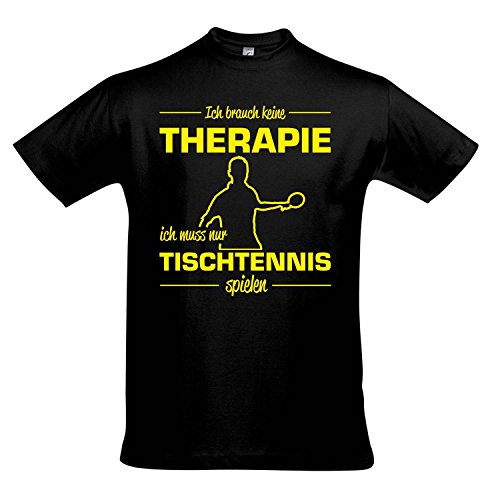 T-Shirt - Therapie - Tischtennis - Sport FUN KULT SHIRTS S-XXL , Deep black - gelb , XL