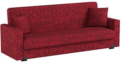 Enrico Coveri Contemporary Divano Letto 3 Posti Rosso, Elegante con  Funzione Letto in Tessuto, Dimensioni: 212 x 73 x 83 cm