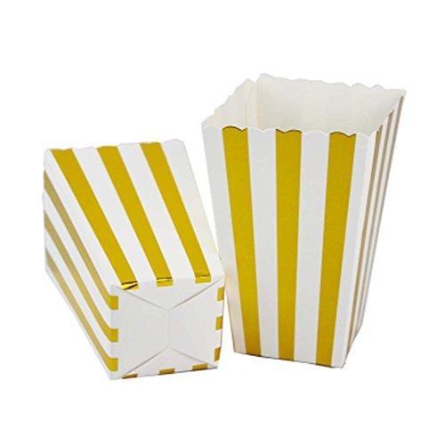 12 stücke Einweg Party Papier Geschirr Popcorn Eimer Snack Tassen, Golden Stipe