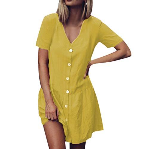 Sommerkleid Damen Elegant Kleider,Frauen Solide V-Ausschnitt Kurzarm Knöpfe Rüschen Saum Baumwolle Und Leinen Minikleid Von Evansamp(Gelb,Xxxl) (Gelb Voll Bettwäsche)