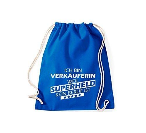 Shirtstown Borse palestra Ich bin Assistente negozio, weil Super eroe niente Occupazione è - Viola, 37 cm x 46 cm blu reale