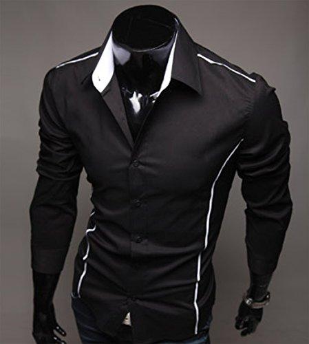 Homme Mode Chemise de Loisir Manches Longues Moulant Contraste Couleurs Noir