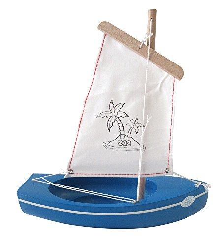 Tirot - 202 - Coque Bleu - Voile Blanc - Bateau jouet en bois navigable