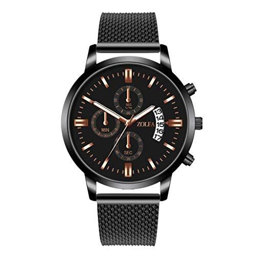 OPALLEY Herren Luxusuhren Quarzuhr Edelstahl Zifferblatt Lässig Silikon Armbanduhr Luminous Analog Date Business Sport Chronograph Fashion Täglich wasserdichte Uhren