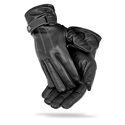 Herren Winter Handschuhe aus Echtem Leder gefüttert mit Fleecefutter Schwarz 10