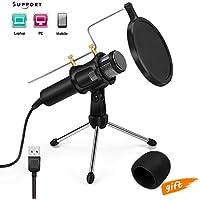 Micrófono de Condensador para grabación de radiodifusión, USB Micrófono para Podcast Studio para YouTube, Facebook, Twitch por Jomst(PC/Laptop)