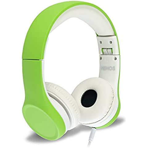 Auriculares de niños Nenos auriculares de niños audífonos para niños auriculares internos para niños Auriculares de ordenador para niños volumen limitado de auriculares plegables (Green)