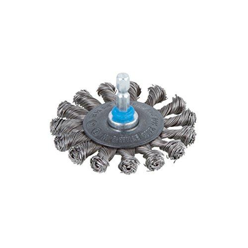 Wolfcraft 2119000 Brosse métal circulaire torsadé Tige 6 mm Diamètre 70 mm