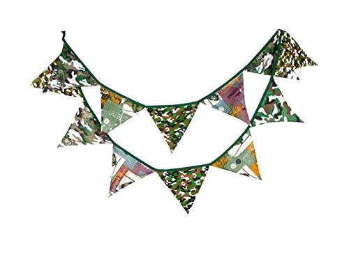 FERFERFERWON Dekoration Kreative Cartoon Wimpel Banner, Tarnung Doppelseitige Tuch Zelt Flagge Wimpel Baby Shower und Geburtstag Party Perfekte Dekoration (Camouflage) für Das Haus
