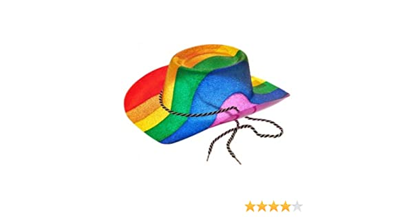 0c59827562c Hat  Cowboy Style Ptd Glitter Rainbow Hat for Fancy Dress Party Accessory   Amazon.co.uk  Toys   Games