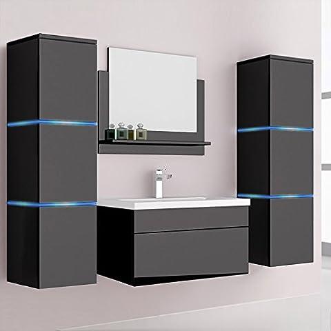 Home Deluxe | Wangerooge | Badezimmermöbel | verschiedene Farben und Größen | XL, Schwarz