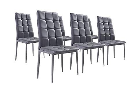 Bestmobilier - NINA Gris - Lot de 6 chaises - Simili Gris